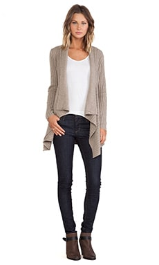 Autumn Cashmere New Rib Drape Sweater in Taupe