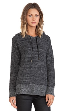 Autumn Cashmere Tweed Honeycomb Hoodie in Cement & Black