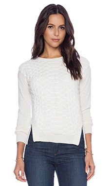 Autumn Cashmere Quilted Snake Stitch Sweater in White