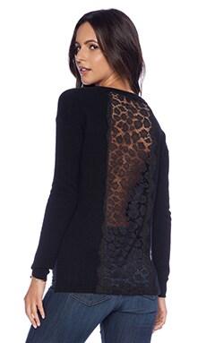 Autumn Cashmere Leopard Lace Hi Lo Sweater in Black