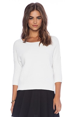 Autumn Cashmere Bubble Stitch Boxy Crop Sweater in White