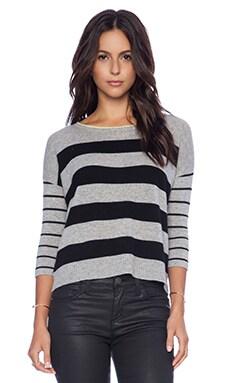 Autumn Cashmere Sailor Stripe Boatneck Sweater in Multi
