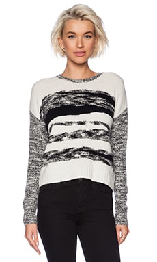 Autumn Cashmere Mixed Yarn Intarsia Sweater in Winter White & Black