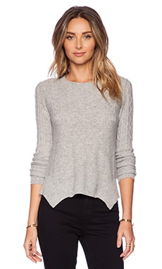 Autumn Cashmere Carved Hem Cable Sweater in Sweatshirt