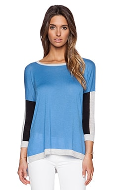 Autumn Cashmere Color Black Hi Lo Sweater in Bluejay Combo