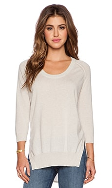 Autumn Cashmere High Low Scoop Sweater in Hemp