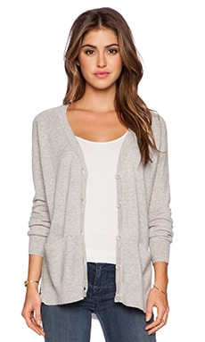 Autumn Cashmere Side Slit Cardigan in Fog