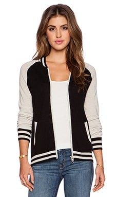 Autumn Cashmere Baseball Jacket in Black & Hemp