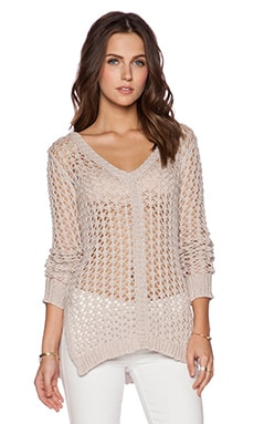 Autumn Cashmere Mesh V Neck Sweater with Side Slits in Flax
