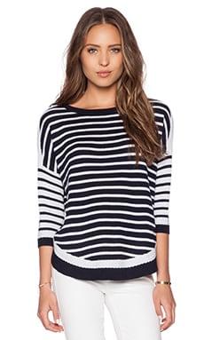 Autumn Cashmere Stripe Basketweave Shirtail Sweater in Navy Blue & Platinum