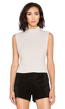 Autumn Cashmere Cropped Mockneck Sleeveless Sweater in Linen
