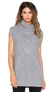 Cable Cowl Tunic Gilet in Nickel