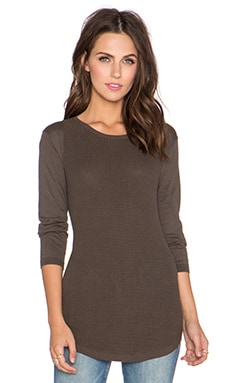 Autumn Cashmere Thermal Stitch Crew Sweater in Peat Moss
