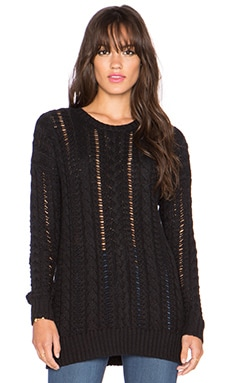 Autumn Cashmere Multi Stitch Crew Sweater in Black