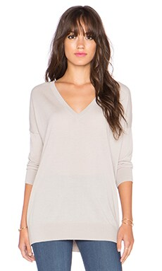 Autumn Cashmere 3/4 Sleeve Slouchy Sweater in Sand