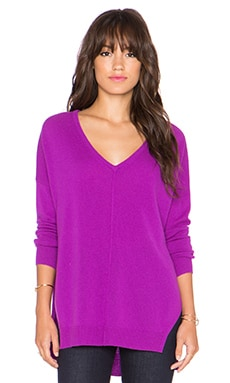 Autumn Cashmere Hi Lo Slash V Neck Sweater in Jam