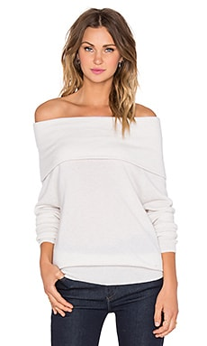 Autumn Cashmere Slouchy Off Shoulder Sweater in Cloud