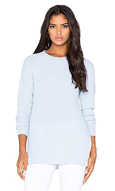 Autumn Cashmere Shaker Side Slit Sweater in Water