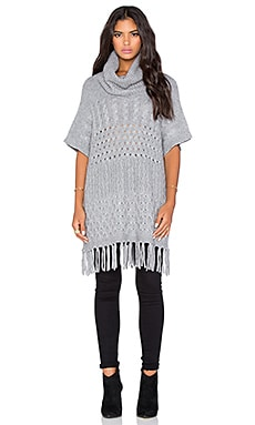 Autumn Cashmere Fringed Cowlneck Multi Stitch Poncho in Nickel