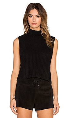 Autumn Cashmere Cropped Mockneck Sleeveless Sweater in Ebony
