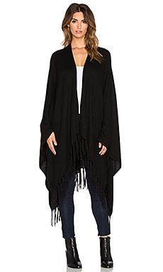 Autumn Cashmere Fringed Cape in Ebony