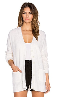 Autumn Cashmere Boucle Oversize Boyfriend Cardigan in Chalk