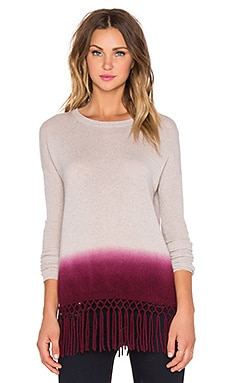 Autumn Cashmere Dip Dye Fringe Sweater in Bone & Pinot
