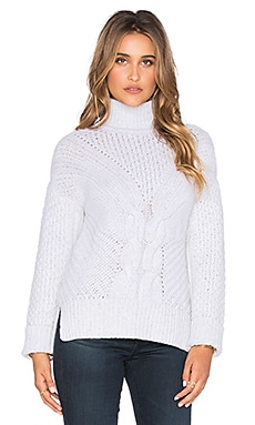 Autumn Cashmere Hand knit Side Slash Cable Turtleneck Sweater in Snowstorm