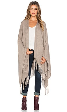 Autumn Cashmere Fringed Cape in Taupe