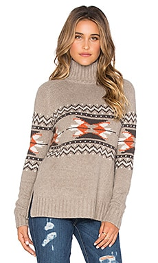 Autumn Cashmere Fairisle Mockneck Sweater in Taupe Combo