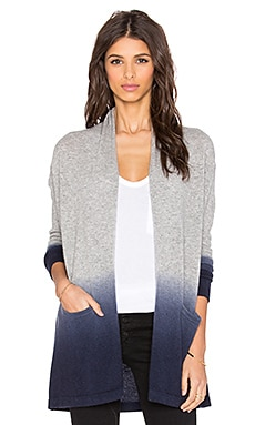 Autumn Cashmere Dip Dye Drape Cardigan in Sweatshirt & Navy