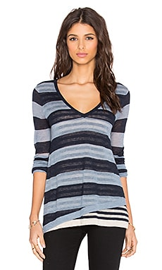 Autumn Cashmere Multi Stripe Layered V Neck Sweater