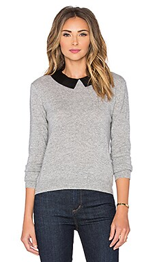 Autumn Cashmere Leather Collar Sweater in Sweatshirt
