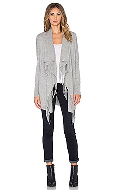 Autumn Cashmere Fringe Drape Cardigan in Sweatshirt