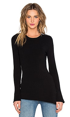 Autumn Cashmere Asymmetrical Zip Sleeve Sweater in Black
