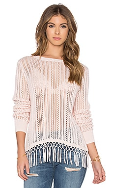 Autumn Cashmere Fringe Crew Neck Sweater in Baby Pink