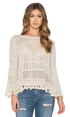 Tassel Crew Neck Sweater in Hemp
