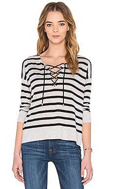 Stripe Lace Up Sweater in Dew & Coal