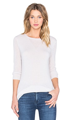 Autumn Cashmere Mesh Crew Neck Sweater in Cloud