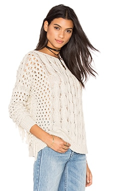 Autumn Cashmere Fringe Crew Neck Sweater in Hemp