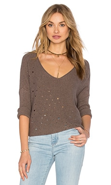 Distressed Boxy Crop Sweater in Rye