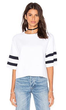 Autumn Cashmere Boxy Crew Neck Sweater in White & Navy