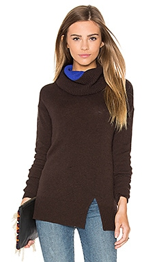 Autumn Cashmere Two Tone Turtleneck Sweater in Mochachino & Pennant