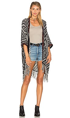 Fringe Tribal Throw en Navy Blue, Hemp & Cognac Combo