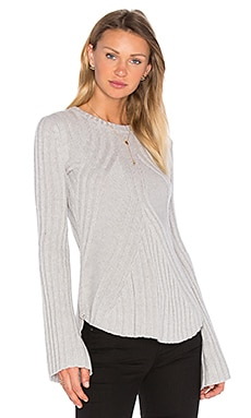 Rib Bell Sleeve Sweater in Pearl