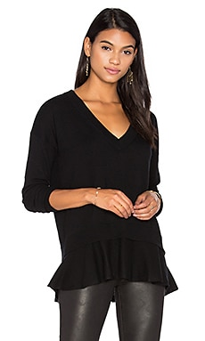 Autumn Cashmere Ruffle V Neck Sweater in Black