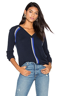 Autumn Cashmere Boyfriend V Neck Sweater in Navy, Cement & Pennant