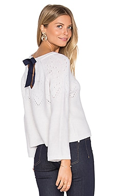 Tie Back Boxy Crop Sweater en Frost & Navy