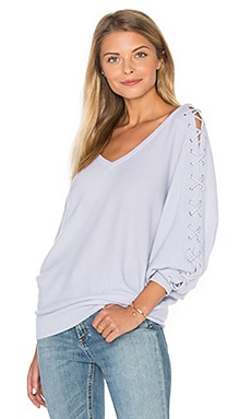 Double V Laced Dolman Sweater in Tranquility