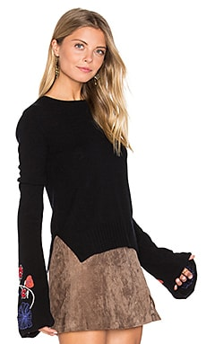 Embroidered Bell Sleeve Sweater in Black Combo